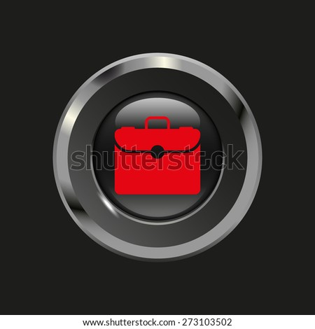 Black glossy button with metallic elements and red icon briefcase, on black background, vector design website - stock vector