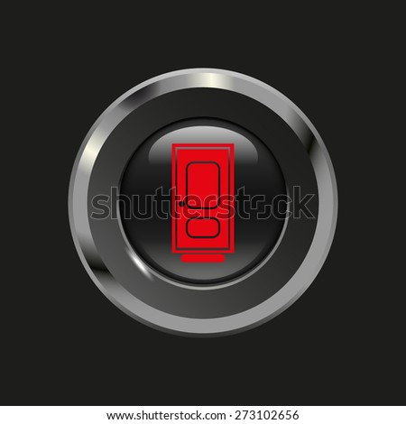 Black glossy button with metallic elements and red icon door, on black background, vector design website - stock vector