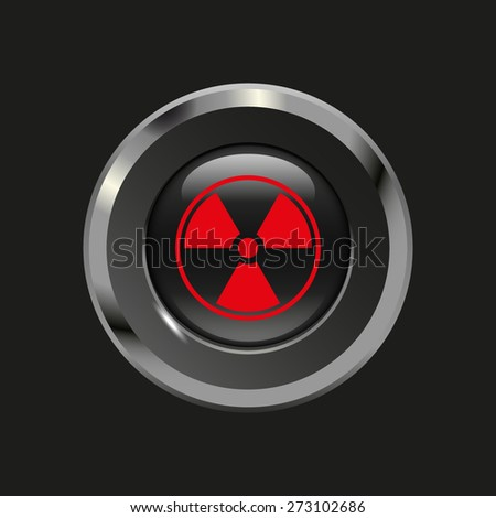 Black glossy button with metallic elements and red icon radiation, on black background, vector design website - stock vector