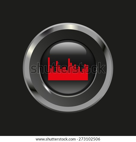Black glossy button with metallic elements and red icon volume bar, on black background, vector design website - stock vector
