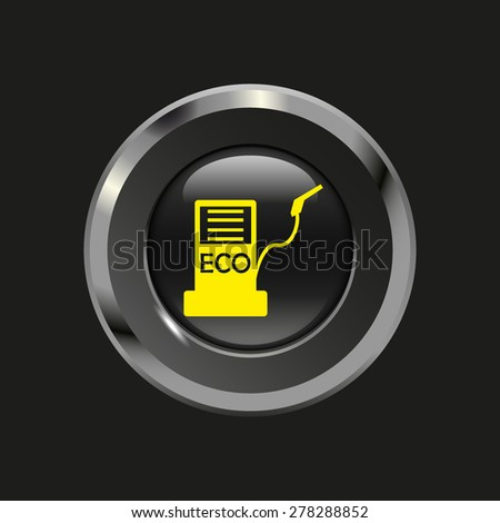 Black glossy button with metallic elements and yellow icon biofuels, on black background, vector design website - stock vector