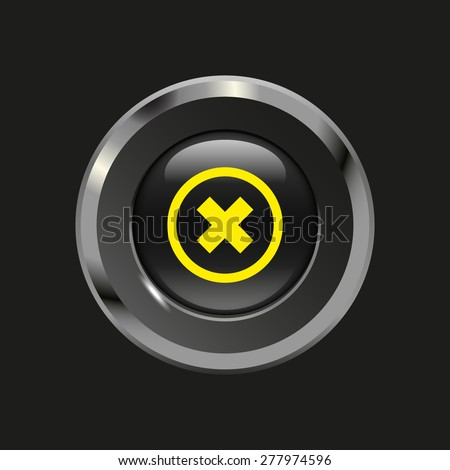 Black glossy button with metallic elements and yellow icon delete, on black background, vector design website - stock vector