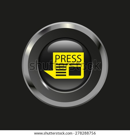 Black glossy button with metallic elements and yellow icon newspaper, on black background, vector design website - stock vector
