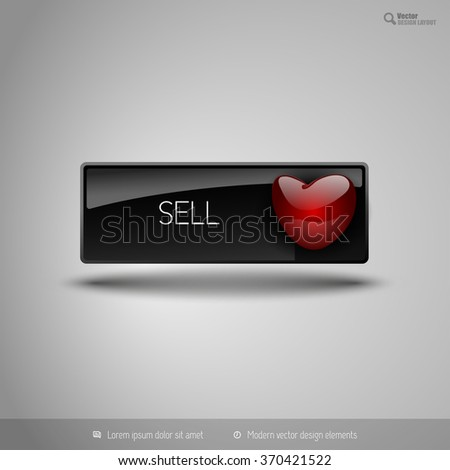 Black glossy button with red heart. Vector business design elements. - stock vector