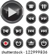 Black glossy multimedia control/icon web design elements set. Vector illustration - stock vector