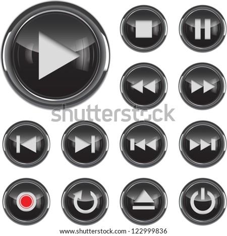 Black glossy multimedia control/icon web design elements set. Vector illustration - stock vector