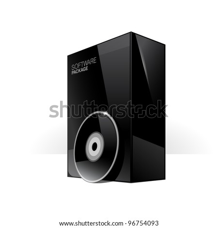 Black Glossy Package Box With DVD Or CD Disk - stock vector