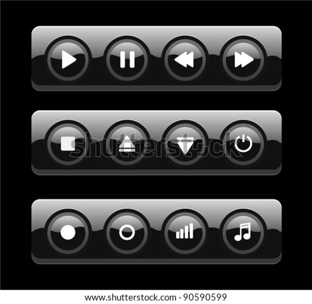 Black glossy round media player buttons isolated on background