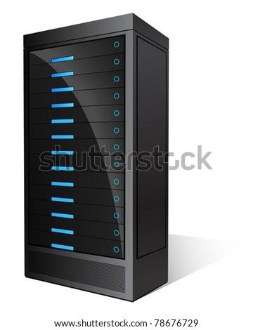 Black Glossy Server - stock vector