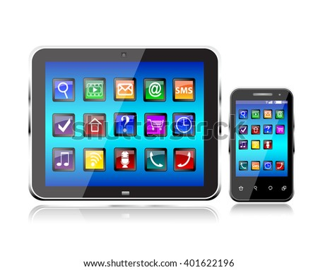 Black glossy tablet PC and touchscreen smartphone isolated - stock vector