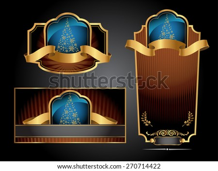 Black gold-framed set ot label, envelope and certificate. Vector illustration. All elements separately.  - stock vector
