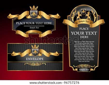 Black gold-framed set ot label, envelope and certificate. Vector illustration. All elements separately. - stock vector
