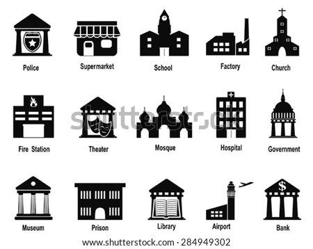 black government building icons set - stock vector