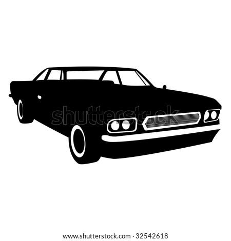 black gradiented car, vector illustration - stock vector