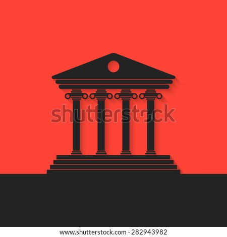 black Greek colonnade on red background. concept of real estate, library, temple, capitol, Parthenon, retro facade, banking establishment. flat style trend modern logo design eps10 vector illustration - stock vector