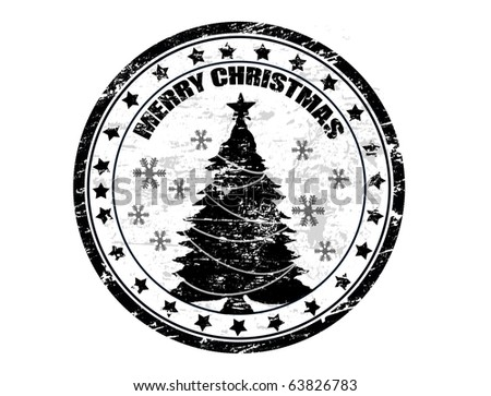 Black grunge Christmas stamp with the text Merry Christmas written inside - stock vector