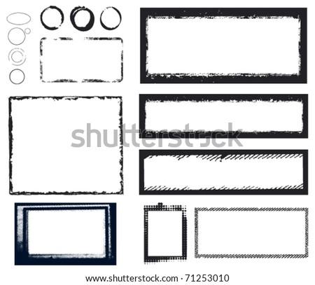 black grunge frames - stock vector