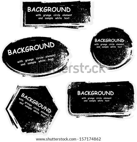 Black grunge frames with ink blots. eps10 - stock vector
