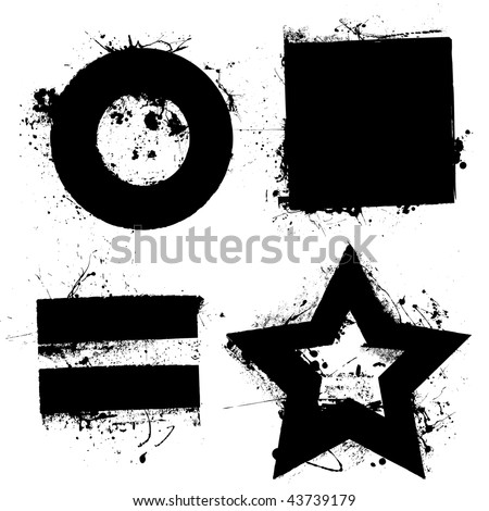 Black grunge ink splat shapes with star and circle - stock vector