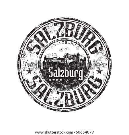 Black grunge rubber stamp with castle silhouette and the name of Salzburg one of the largest city from Austria written inside the stamp