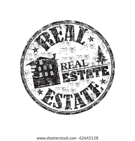 Black grunge rubber stamp with house symbol and the text real estate written inside the stamp