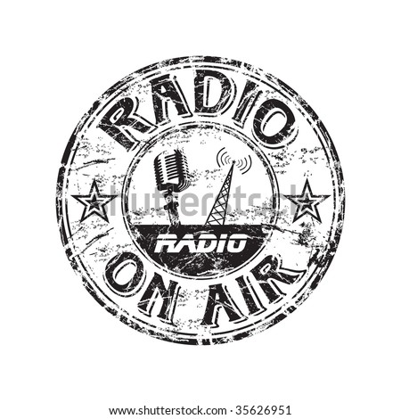 Black grunge rubber stamp with microphone shape, radio tower and the text radio on air written inside the stamp - stock vector