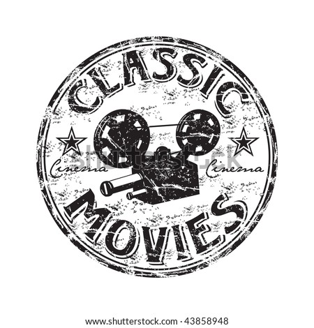 Black grunge rubber stamp with movie projector shape and the text classic movies written inside the stamp - stock vector