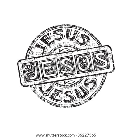 Black grunge rubber stamp with small Jesus fish symbols and the name Jesus written inside the stamp - stock vector