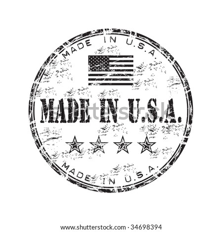 Black grunge rubber stamp with the flag of the United States of America and the text made in USA written inside the stamp - stock vector
