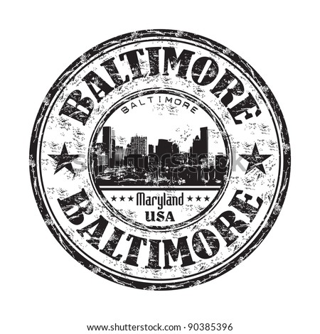Black grunge rubber stamp with the name of Baltimore the largest independent city from United States and a cultural center in the state of Maryland