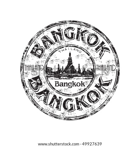 Black grunge rubber stamp with the name of Bangkok the capital of Thailand written inside the stamp - stock vector