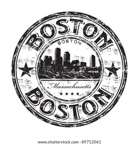 Black grunge rubber stamp with the name of Boston the capital of Massachusetts from United States of America written inside the stamp - stock vector