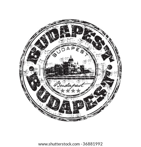 Black grunge rubber stamp with the name of Budapest the capital of Hungary written inside the stamp