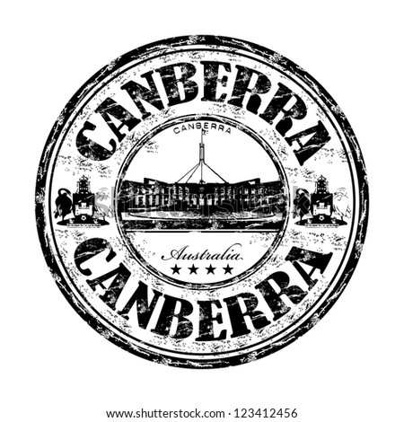 Black grunge rubber stamp with the name of Canberra city, the capital of Australia