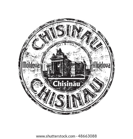 Black grunge rubber stamp with the name of Chisinau the capital of Moldova written inside the stamp
