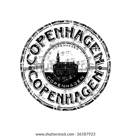 Black grunge rubber stamp with the name of Copenhagen the capital of Denmark written inside the stamp