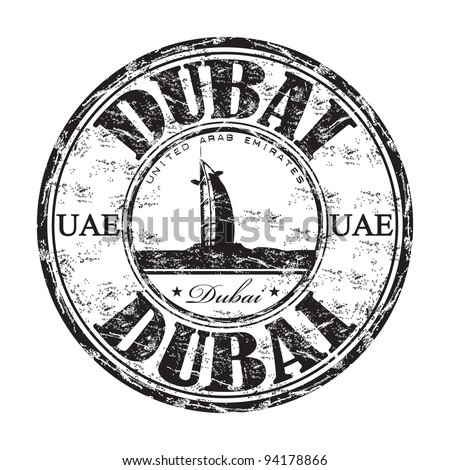 Black grunge rubber stamp with the name of Dubai, an emirate from the United Arab Emirates