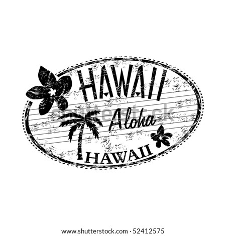 Black grunge rubber stamp with the name of Hawaii islands written inside the stamp - stock vector