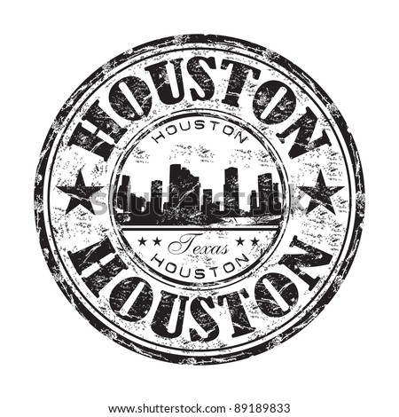 Black grunge rubber stamp with the name of Houston city written inside the stamp