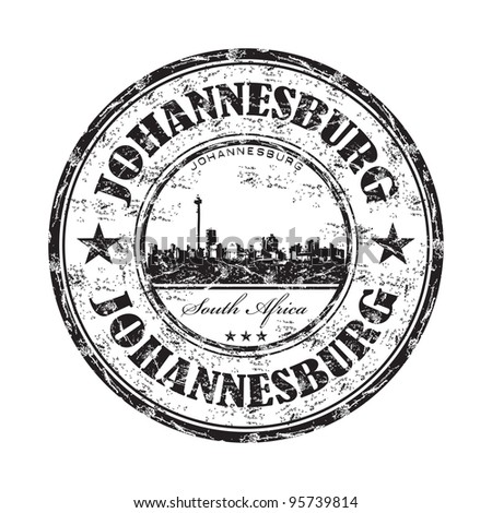 Black grunge rubber stamp with the name of Johannesburg one of the biggest cities from South Africa written inside the stamp