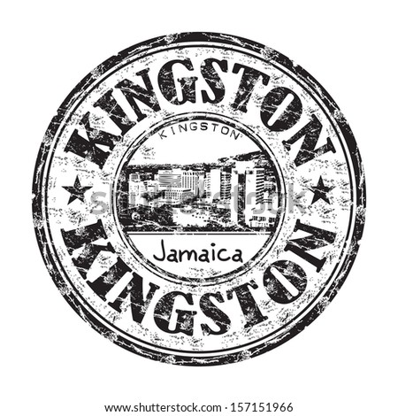 Black grunge rubber stamp with the name of Kingston city, the capital of Jamaica