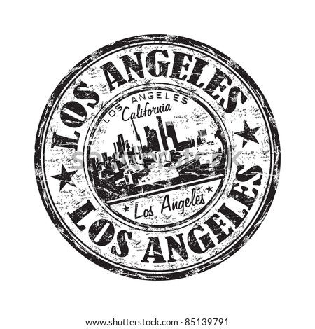 Black grunge rubber stamp with the name of Los Angeles city from California written inside the stamp - stock vector