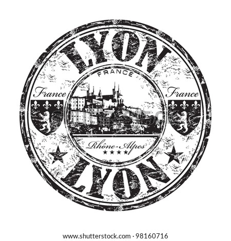 Black grunge rubber stamp with the name of Lyon a city from France in the Rhone Alpes region written inside the stamp