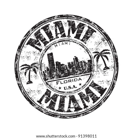 Black grunge rubber stamp with the name of Miami city from southeastern Florida written inside the stamp