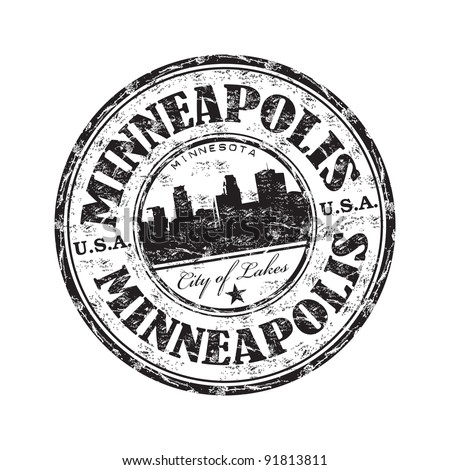 Black grunge rubber stamp with the name of Minneapolis city from Minnesota state in United States of America written inside the stamp - stock vector