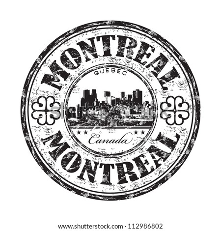 Black grunge rubber stamp with the name of Montreal, a city located in Canada, in the province of Quebec
