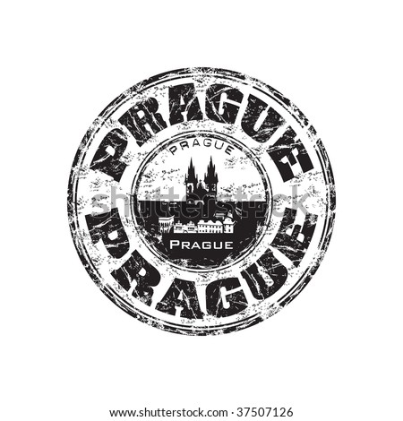 Black grunge rubber stamp with the name of Prague the capital of Czech Republic written inside the stamp