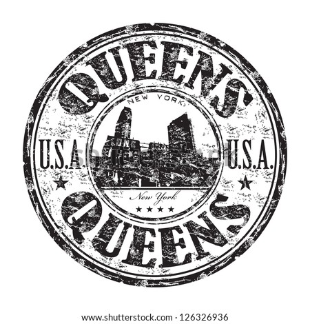 Black grunge rubber stamp with the name of Queens borough from New York City written inside the stamp - stock vector