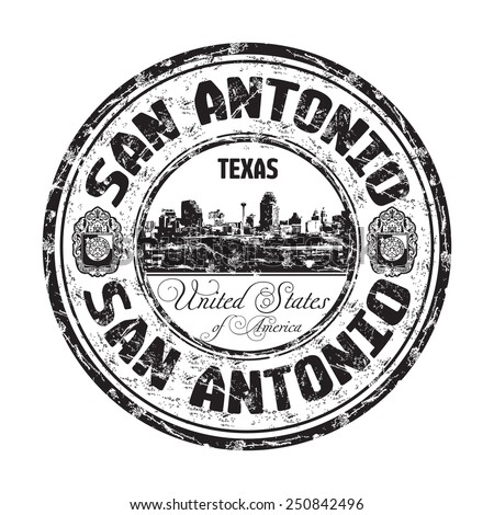 Black grunge rubber stamp with the name of San Antonio city from the state of Texas written inside the stamp