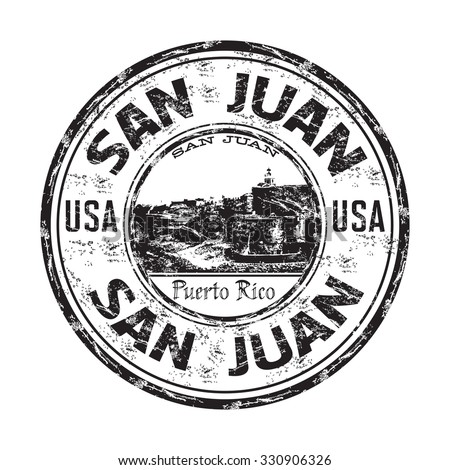 Black grunge rubber stamp with the name of San Juan city, the capital of Puerto Rico